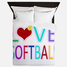 LOVE Softball Queen Duvet