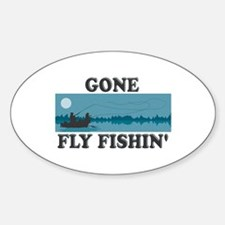 Gone Fly Fishin' Oval Decal
