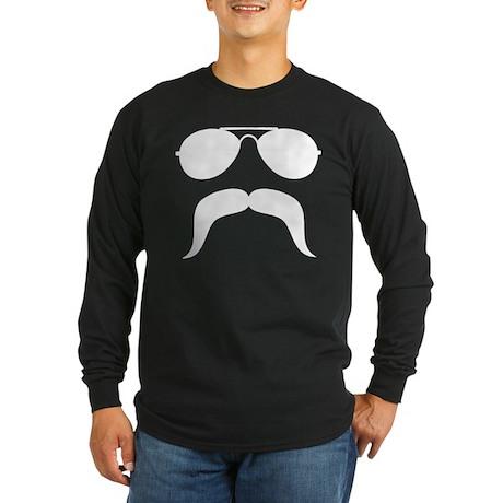 Macho Mustache Long Sleeve Dark T-Shirt