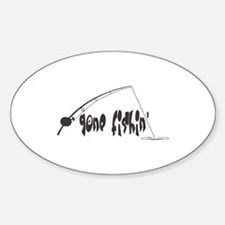 Gone Fishin' Oval Decal