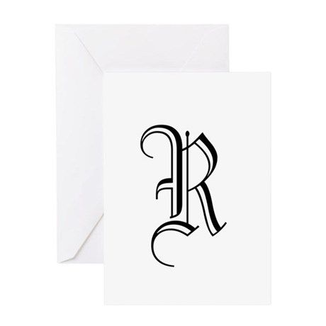 Black Letter Monogram R Greeting Card By