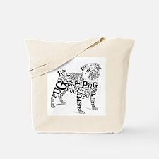 Pug Typography Tote Bag