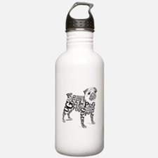 Pug Typography Water Bottle