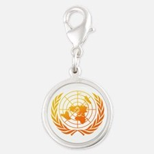United Nations 2 Silver Round Charm