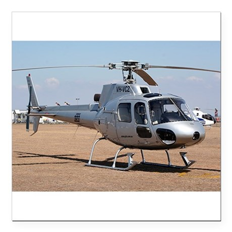 "Helicopter (silver) Square Car Magnet 3"" x 3"""
