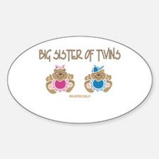 Big Sister Of Twins (boy/girl) Oval Decal