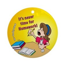 Homework Time Girl Ornament (Round)