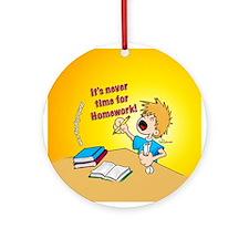Homework Time Boy Ornament (Round)
