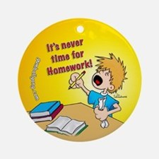 Homework Time Boy Ornament (Round)