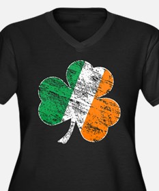 Vintage Distressed Irish Flag Shamrock Plus Size T