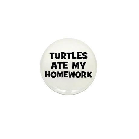 Turtles Ate My Homework Mini Button