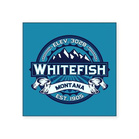 "Whitefish Logo Ice Square Sticker 3"" x 3"""