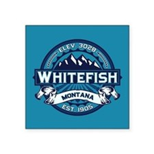 "Whitefish Logo Ice Square Sticker 3"" x 3"""