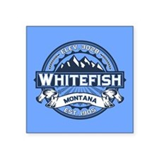 "Whitefish Logo Blue Square Sticker 3"" x 3"""