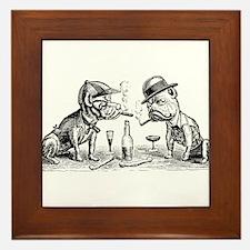 Cigar Smoking Bulldogs Framed Tile