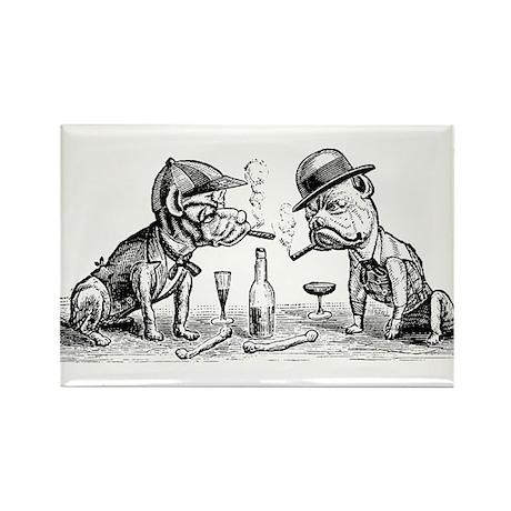Cigar Smoking Bulldogs Rectangle Magnet