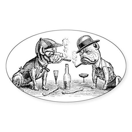 Cigar Smoking Bulldogs Oval Sticker