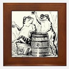 Beer Drinking Frogs Framed Tile