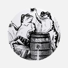 Beer Drinking Frogs Ornament (Round)