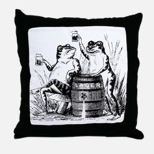Beer Drinking Frogs Throw Pillow