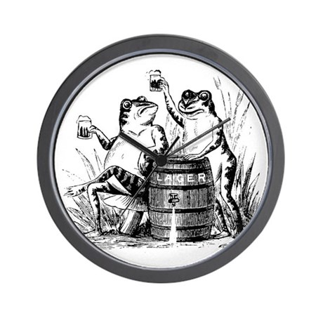 Beer Drinking Frogs Wall Clock