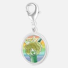 St. Patricks Alpaca? Silver Oval Charm
