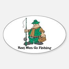Reel Men Go Fishing Oval Decal
