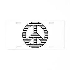 Striped Peace Sign Aluminum License Plate