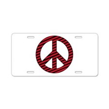 Red Striped Peace Sign Aluminum License Plate