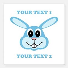 """PERSONALIZE Blue Bunny Square Car Magnet 3"""" x 3"""""""