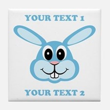 PERSONALIZE Blue Bunny Tile Coaster