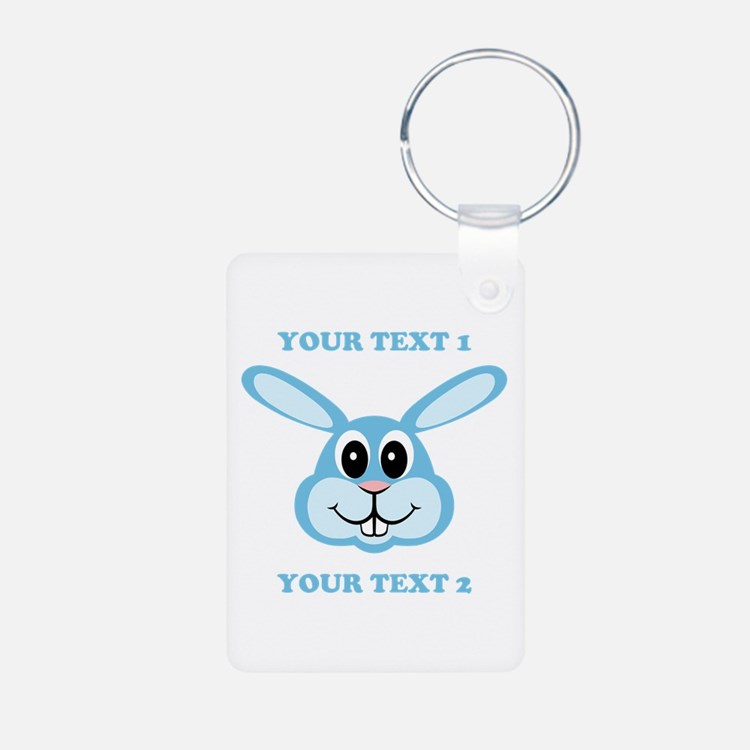 PERSONALIZE Blue Bunny Keychains