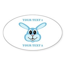 PERSONALIZE Blue Bunny Sticker (Oval)