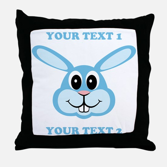 PERSONALIZE Blue Bunny Throw Pillow