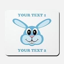 PERSONALIZE Blue Bunny Mousepad