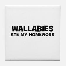 Wallabies Ate My Homework Tile Coaster