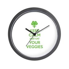Keep calm and eat your veggies Wall Clock
