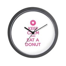 Keep calm and eat a donut Wall Clock