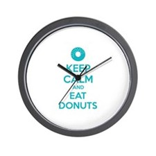 Keep calm and eat donuts Wall Clock
