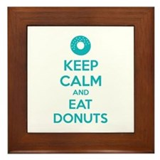 Keep calm and eat donuts Framed Tile