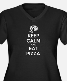 Keep calm and eat pizza Women's Plus Size V-Neck D