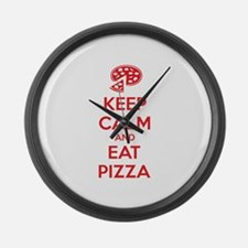 Keep calm and eat pizza Large Wall Clock