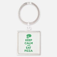 Keep calm and eat pizza Square Keychain