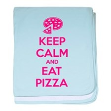 Keep calm and eat pizza baby blanket
