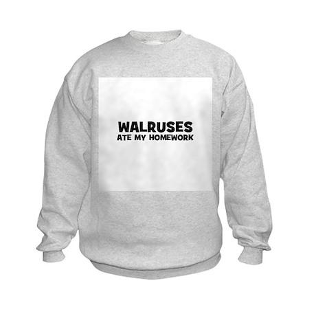 Walruses Ate My Homework Kids Sweatshirt