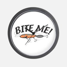 Funny Bite Me Fishing Lure Wall Clock