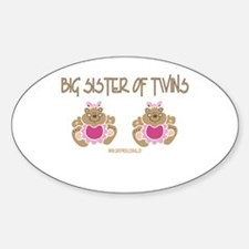 Big Sister Of Twins (2 Girls) Oval Decal