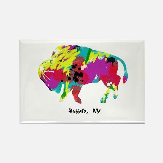 Artsy Buffalo Rectangle Magnet