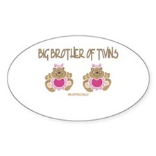 Big Brother Of Twins (2 Girls) Oval Decal