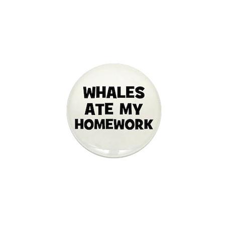 Whales Ate My Homework Mini Button